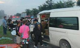 สยองรถตู้หลับในชนท้ายรถสิบล้อ ดับ 5 ศพ บาดเจ็บ 6 ราย