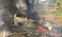 รถตู้ซิ่งชนต้นไม้ปราจีนฯไฟลุกไหม้ย่างสด 4 ศพ - เจ็บอีก 6