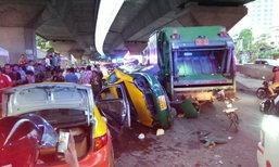 รถเก็บขยะเมา พุ่งชนแท็กซี่จอดหน้าอาร์ซีเอ บาดเจ็บระนาว