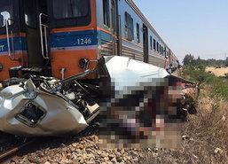 รถไฟพุ่งชนปิกอัพชะอำเพชรบุรีตาย4-ปิดวิ่งชั่วคราวจนท.เร่งกู้