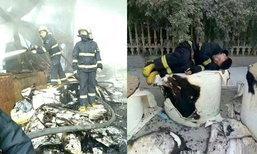 เหนื่อยจนหลับ! ไฟไหม้โรงงานในจีน ดับเพลิงมาราธอนกว่า 30 ชม.