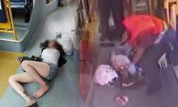 ไม่ได้เมา แค่หลับ!  สาวจีนตกเบาะนอนพื้นรถเมล์ไม่รู้ตัว