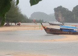กระบี่ปักธงแดงห้ามเล่นน้ำ-ฝนตกทำน้ำท่วม