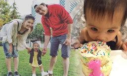 น้องเอวาลีน ลูกสาวเจนนิเฟอร์ เป่าเทียนวันเกิดครบ 1 ขวบ