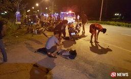 หนุ่มขับเก๋งเสียหลัก พุ่งชนแก๊งแว้นแตกกระเจิง ตายคาที่ 1 ศพ