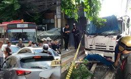 ระทึก! คนร้ายชิงรถบรรทุก ซิ่งหนี-ชนกระหน่ำกลางเมือง