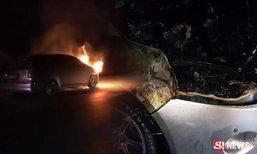 แม่รีบหอบลูก 4 คน หนีตายจากรถติดแก๊ส ไฟลุกพรึบ!