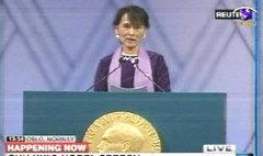 อองซานซูจี ขึ้นรับรางวัลโนเบล ย้อนหลัง 21 ปี