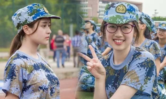 ฮือฮา นักศึกษาสาวสวยเข้าฝึกทหารต้อนรับเปิดเทอม