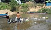 ทหารตากลงพื้นที่หลังพบขยะในแม่น้ำเมย