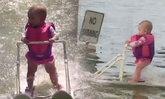 มีอึ้ง! ทารกอายุ 6 เดือนเล่นสกีน้ำเป็น ก่อนเดินได้