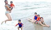 พลอย พลอยพรรณ โชว์หุ่นแซ่บ กระเตงลูกสองเล่นน้ำทะเล
