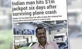 หนุ่มใหญ่ถูกล็อตเตอรี่เงินล้าน หลังรอดตายเครื่องบินตกดูไบ