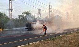 รถบรรทุกน้ำมันพุ่งชนรถพ่วงไฟไหม้เจ็บ1