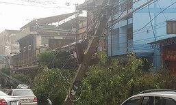 พายุลมแรงถล่มอุดรฯ ต้นไม้เสาไฟฟ้าหักโค่น