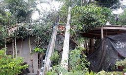 พายุฤดูร้อนถล่มสัตหีบพัดเสาไฟ4ต้นล้มทับบ้าน