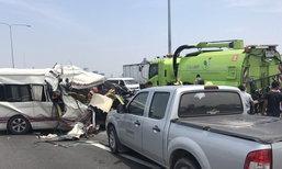 รถตู้นวนครชนท้ายรถโทลล์เวย์ ดับ 2 ศพ ทางด่วนรถติดยาว
