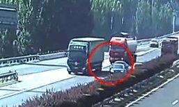 หนุ่มจีนขับรถผิดทางเบรกรถกะทันหัน ชนท้ายต่อกัน 3 คันรวด