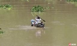 สาวเครียดจอดรถโดดเจ้าพระยา คนหาปลาซิ่งเรือไปช่วยทัน