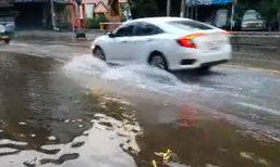 ฝนตกกทม.ถนนแจ้งวัฒนะน้ำท่วมขัง-จร.ติดขัด