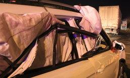 พังแค่ไหนก็ไปต่อ! หนุ่มผูกผ้านวมปิดกระจกรถ ขับกลับบ้านตรุษจีน