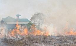อากาศร้อนจัดไฟไหม้ทุ่งหญ้าแห้งในจ.ตากวอดกว่า10ไร่