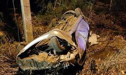 รถเก๋งเสียหลักพลิกคว่ำถนนหนองจอกตาย3เจ็บ4