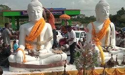 สีสันชาวจันทบุรี-กัมพูชาใช้ซาเล้งแห่หลวงพ่อโตสนุกสนาน