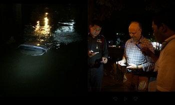 ฝรั่งวัยเกษียณเป็นฮีโร่! โดดน้ำช่วยหนุ่มขับเก๋งตกคูเมือง รอดตาย