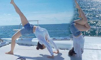 ลิเดีย สตรองของจริง เล่นโยคะท่ายากบนเรือ