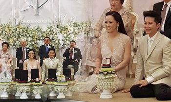 """""""อั๋น ภูวนาท"""" ควงภรรยา """"จ๋า"""" ยกสินสอด-ฉลองแต่งงานพิธีไทย"""
