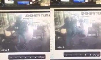 ภาพนาทีชีวิต สารวัตรโหดยิงเมีย-เพื่อนชายดับ กลางร้านกาแฟ
