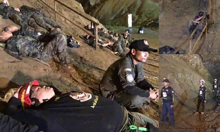 พี่ยังไหวขอแค่น้องปลอดภัย ชาวเน็ตแห่ชื่นชมโพสต์ภาพ จนท.ทำงาน 24 ชม.เร่งช่วย 13 ชีวิต