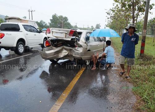 ฝนตกหนักรถชนกัน3คันรวดเจ็บ1ราย