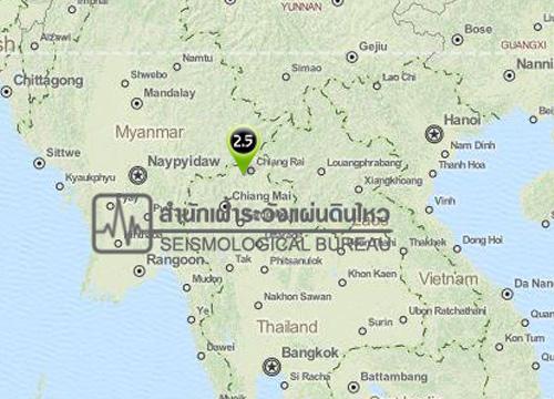 สำนักเฝ้าระวังแผ่นดินไหว รายงานแผ่นดินไหว 2.5 ริกเตอร์ จ.เชียงราย