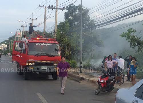 ระทึกไฟไหม้ป่าหวิดลามอู่รถกรุงเทพ-คลองลาน