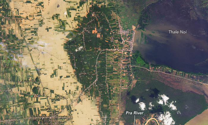 แชร์ทั่วโลกออนไลน์! ดาวเทียมนาซ่าเปิดภาพ พัทลุงช่วงน้ำท่วม
