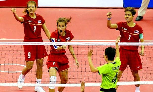 ประมวลภาพ ทีมตะกร้อหญิงไทยคว้าเหรียญทอง