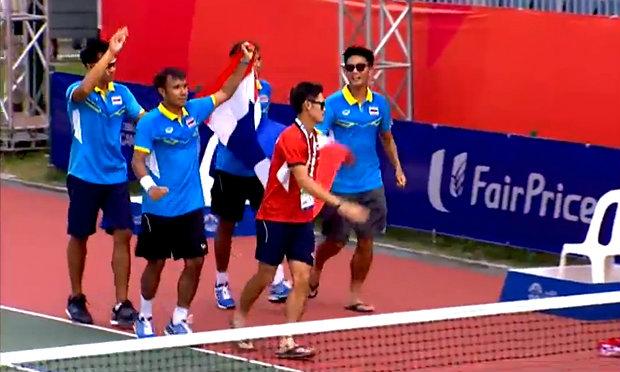 เทนนิสทีมชาย ชนะ อินโด คว้าเหรียญทองซีเกมส์