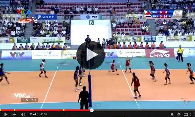 """คลิปเต็มๆแมตช์ """"สาวไทย"""" U23 ตบสาวฟิลิปปินส์ยับเยิน วอลเลย์บอลวีทีวี คัพ"""