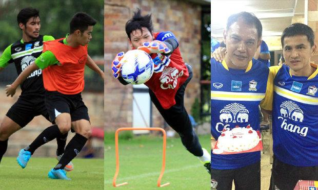 """ประมวลภาพทีมชาติไทยซ้อมช่วงเย็น+เซอร์ไพรส์""""โค้ชเค""""26-08-2015"""