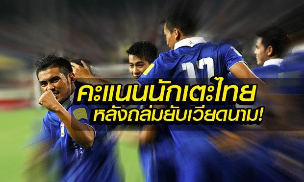 """จัดเต็ม! ผ่าคะแนนนักเตะไทย หลังเกมถล่มเวียดนาม 3-0  โดย """"บ.ส้มซิ่ง"""""""